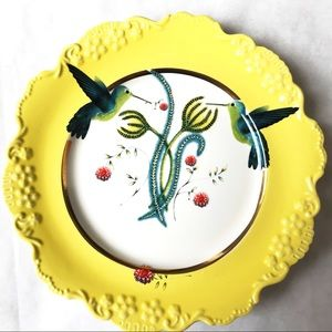 Anthropologie Lou Rota Hummingbird Dessert Plate